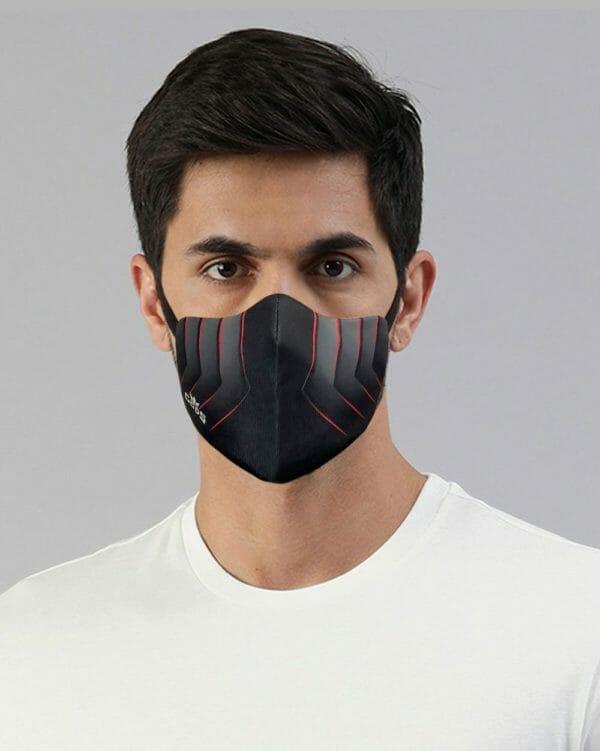 Xator Combat Face Protector Mask (Black Red) - RoadGods